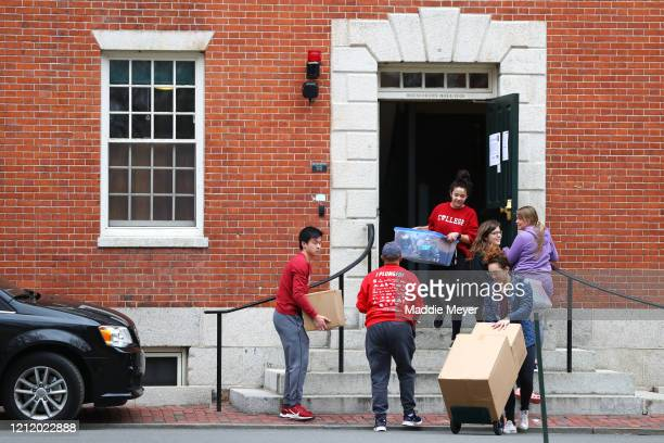 Students move out of dorm rooms on Harvard Yard on the campus of Harvard University on March 12, 2020 in Cambridge, Massachusetts. Students have been...