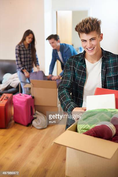 students moving into new flat