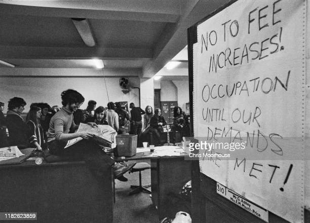 Students occupy a room at Connaught House at the London School of Economics to protest against fee increase London UK 14th February 1977