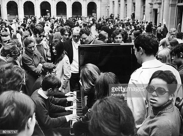 Students occupy the Sorbonne armed with a piano during the student riots in Paris 14th May 1968