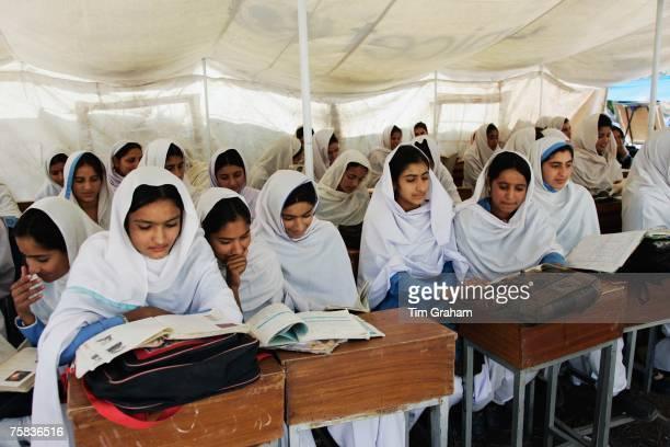 Students of all female Gundi Pira Secondary School in earthquake area of Pattika Pakistan