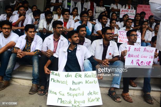 Students of BJ Medical College stage a protest demanding hike on their stipend on June 13 2018 in Pune India