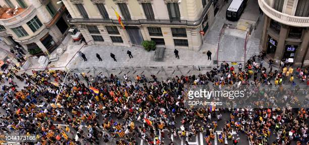 Students of Catalonia seen occupying the street of Via Layetana during the demonstration Some 15000 students according to the Local Police have...