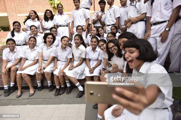 Students of Delhi Public school Noida sector 29 celebrate after Central Board of Secondary Education announced the results of Class 10 board...