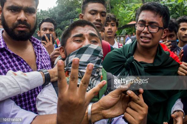 Students of Dhaka Bangladesh on 4 August 2018 came to street and demanded Safe Road as their fellow 2 students were killed by a bus in front of their...