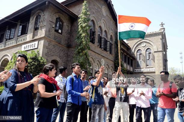 Students of Fergusson College and ABVP celebrated attack on PoK by Indian Air Force at College campus on February 26 2019 in Pune India Indian forces...