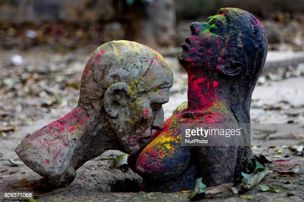Students of fine arts made various sculptures and place those in different places in a campus in Dhaka Bangladesh on March 2 2018