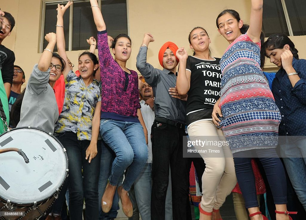 Students of Guru Nanak Foundation School celebrate their success after Central Board of Secondary Education class 10th board exam results were...