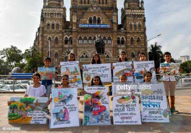 Students of Gurukul School of Art showing painting on the eve of completing BMC building's 124 years and it is entering its 125th year on August 1 on...