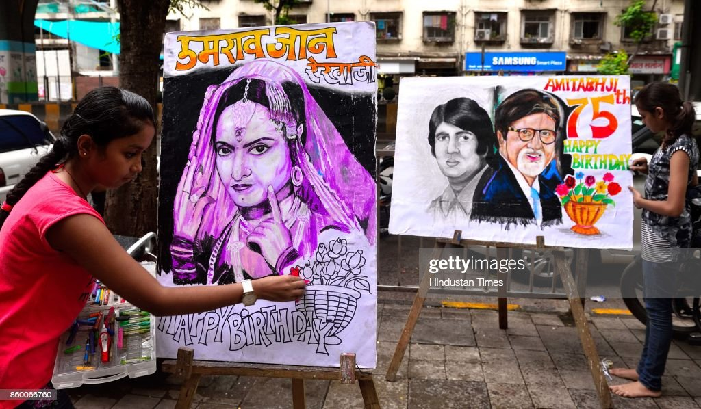 Students of Gurukul School of Art wish and celebrate birthdays of Bollywood actress Rekha and Amitabh Bachchan respectively at on October 10 2017 in..