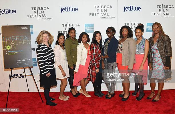 Students of Harlem Renaissance High school attend Tribeca Teaches Screening Hosted By Taraji P Henson during the 2013 Tribeca Film Festival on April...