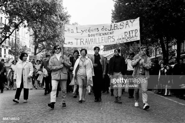 Students of high school JeanBaptisteSay supporting French workers of Public transport RATP Group take part in the big demonstration called by the CGT...