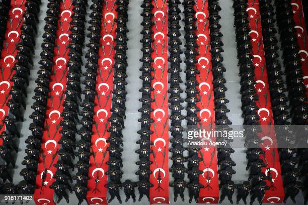 Students of Isiklar NonCommissioned Officer Vocational College attend their oathtaking ceremony at Tofas Sports Hall in Bursa Turkey on February 14...