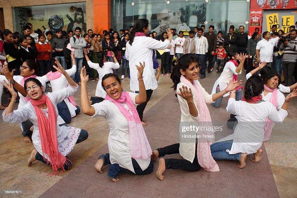 "Students of Lady Shri Ram College performed a street play in which they spread awareness & stressed on the need to have early detection of Breast Cancer on the occasion of World Cancer Day at the Great India Place Mall Sector 38 on February 03, 2013 in Noida, India. A Cancer Charitable Trust associated with GIP jointly invited people and carefree shoppers to make them aware of Cancer and ""Beat the Cancer"" & also bust the myths of this disease that ""Cancer is just a health issue"", ""Cancer is a disease of the wealthy, elderly & developed countries"", ""Cancer is my fate"", ""Cancer is a death sentence""."