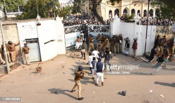 Students of Nadwa college protest against the Citizenship Amendment Act and the police crackdown on students of Jamia Millia Islamia as police...