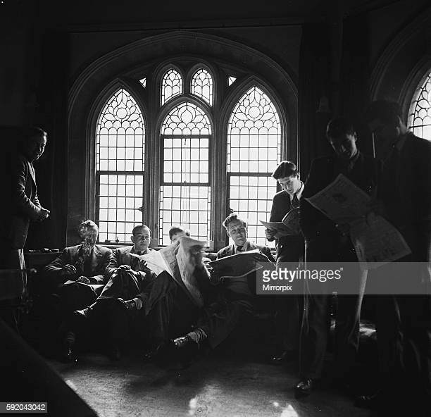 Students of Oxford University relaxing in the common room of one of the colleges Circa 1950