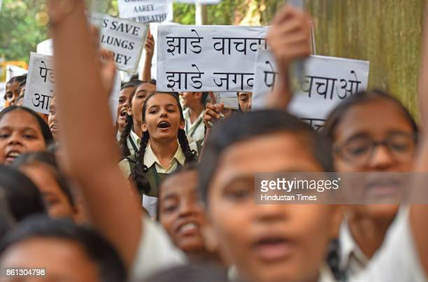 Students of Pargnya Bodhini High School during procession on street to support Save Aarey Movement and spread awareness about Aarey greenery at...