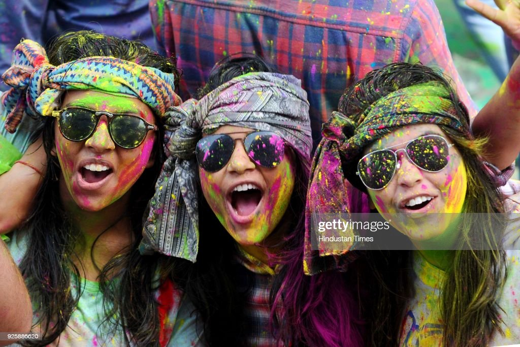 Students of Punjab University playing holi at Student Center Punjab University on March 1 2018 in Chandigarh India Holi is popular Hindu spring...