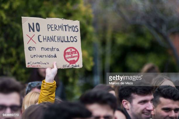 Students of Rey Juan Carlos University protest calling for the resignation of the president of the Community of Madrid Cristina Cifuentes and the...