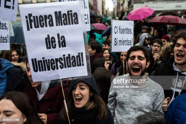 Students of Rey Juan Carlos University protest calling for the resignation of the president of the Community of Madrid Cristina Cifuentes and for the...