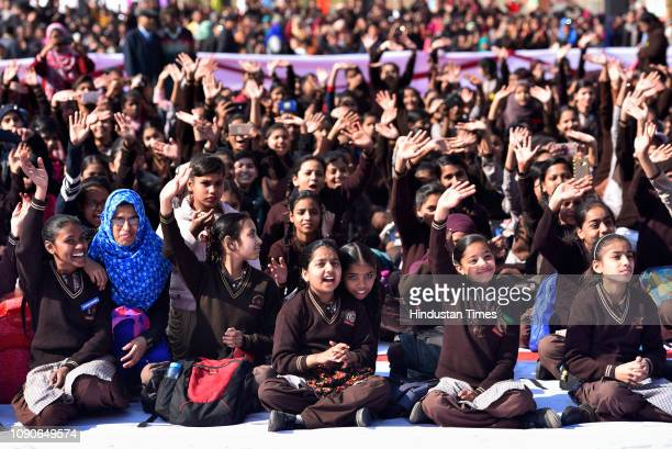 Students of Sarvodaya Kanya Vidyalaya during the foundation stone laying event by Delhi chief minister Arvind Kejriwal Deputy chief minister Manish...