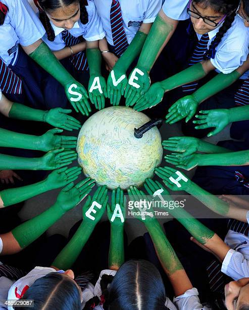 Students of Scholar Fields Public School taking part in awareness program on the eve of World earth day on April 21 2014 in Patiala India Lok Sabha...