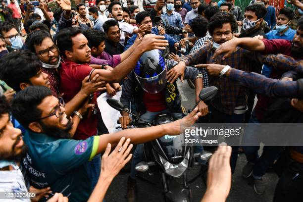 Students of seven Dhaka University-affiliated colleges block Science lab road as they take part during the demonstration. Thousands of students from...