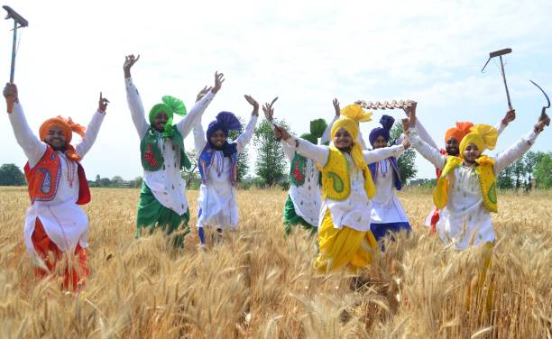 Students of Sri Guru Harkrishan Senior Secondary Public School Sultanwind Link Road in a traditional dress during performing Gidha at wheat filed...