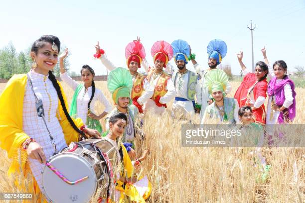 Students of St Soldier Group celebrating Baisakhi on April 11 2017 in Jalandhar India Baisakhi is a historical and religious festival in Sikhism It...