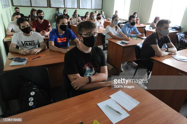 Students of Tambov University are seen wearing protective masks in the classroom as a precaution against Covid-19. Students at many Russian...