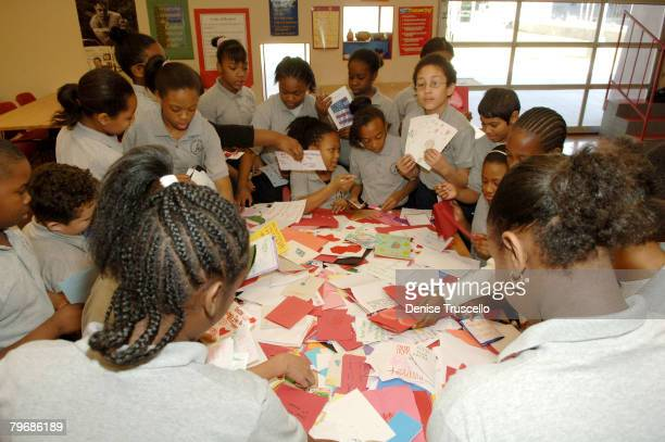 Students of The Andre Agassi Prep School present 1400 hand made Valentine cards to veterans at The Andre Agassi Prep School on February 07 2008 in...