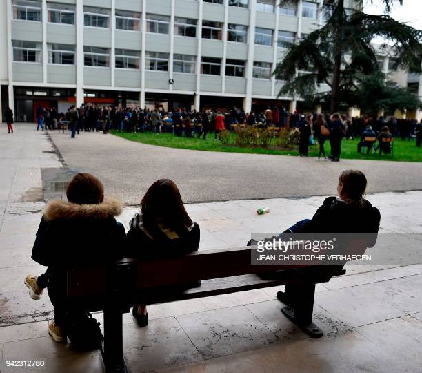 Students of the Faculty of Humanities - University of Lorraine, gather for a general assembly on April 5, 2018 in Nancy, northeastern France, during...
