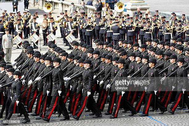 Students of the French Polytechnic school march down the Champs Elysees during the annual Bastille Day military parade on July 14 in Paris France...