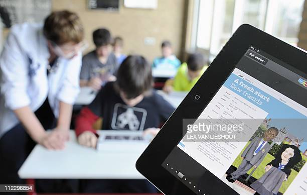 Students of the Hondsrug college use Ipads during an English class in Emmen on April 18 2011 After summer holidays every class of Hondsrug college...