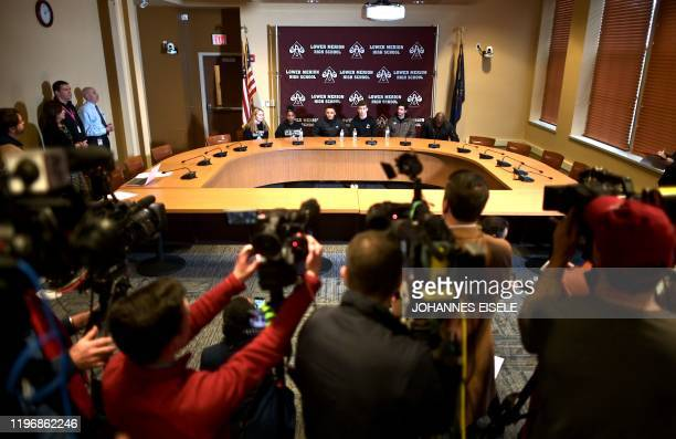 Students of the Lower Merion High School give a press conference where basketball legend Kobe Bryant formally attended school after his passing on...
