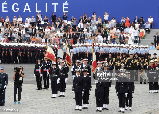 Students of the Naval School take part in the annual Bastille Day military ceremony on the Place de la Concorde in Paris on July 14 2020 France holds...