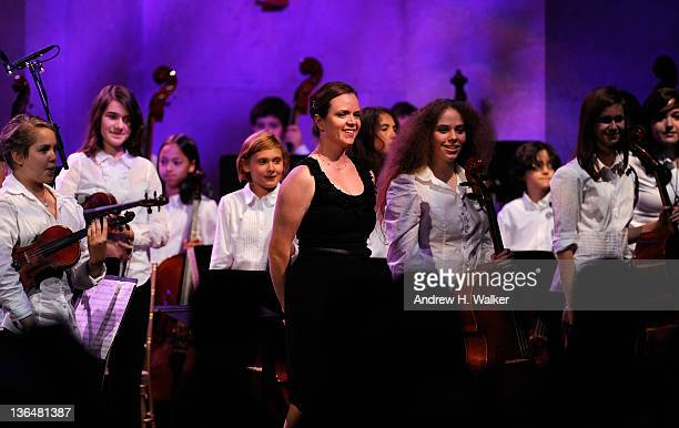 Students of the PS 58 Chamber Orchestra, from PS 58 The Carroll School in Brooklyn, NY, perform during the VH1 Save The Music Foundation 2010 Gala at...