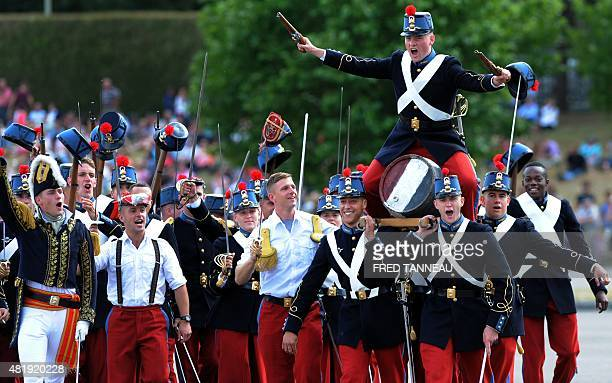 Students of the special military school SaintCyr take part in the historic reenactment The Triumph of the barrel on July 25 2015 in Guer western of...