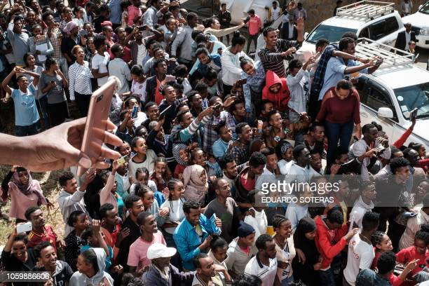 Students of University of Gondar react during the visit of Eritrea's President Isaias Afwerki Somalia's President and Mohamed Abdullahi Mohamed and...