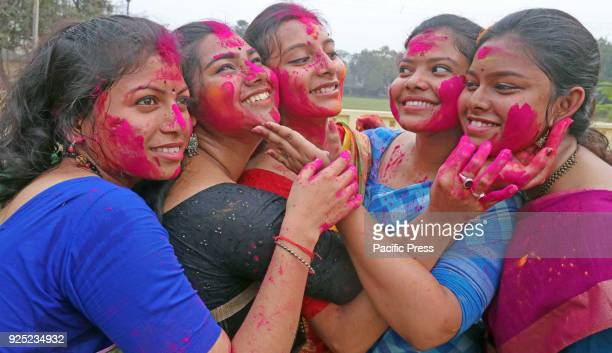 Students of VisvaBharati University smear color powder onto each other during Basanta Utsav to welcome spring The spring is the queen of all seasons...