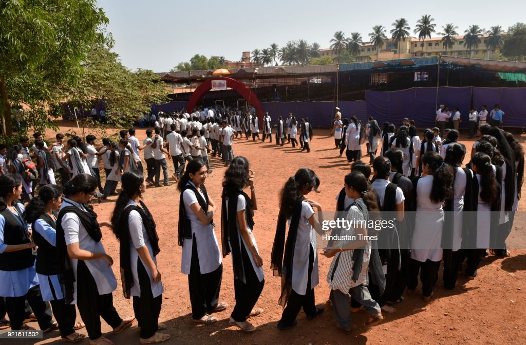 Students of Vivekananda College during an interaction with the BJP national president Amit Shah at Vivekanand College on February 20, 2018 in Puttur, India. Ahead of the assembly polls scheduled to be held in May, Shah launched the BJPs poll campaign in the communally sensitive Dakshina Kannada and Uttara Kannada districts in coastal Karnataka, where the party has a strong presence and is trying to consolidate it further.