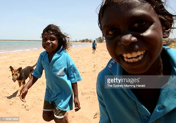 Students of Yilpara school in East Arnhem Land in the Northern Territory enjoy some exercise at the local beach