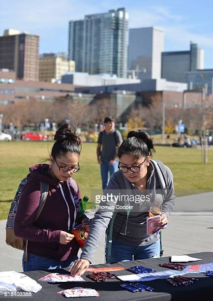 Students on Auraria campus college pick up material from vendors on the importance of voting in the upcoming elections Activist and actress America...