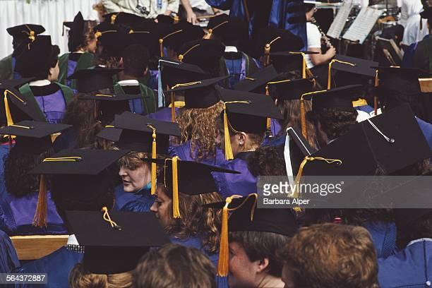 Students on graduation day at New York University New York City USA June 1986