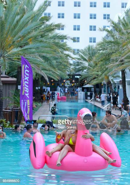 Students on Spring Break enjoy DJ music during the Behrouz Friends Pool Party produced by 935FM Revolution Radio Miami at the National Hotel as part...