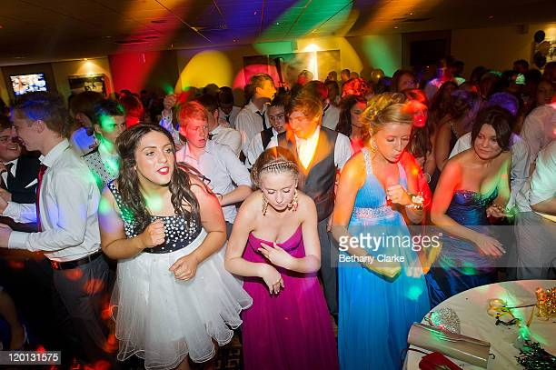 Students on the dancefloor at St James' Park the venue for the school prom on July 1 2011 in Newcastle United Kingdom After months of preparation...