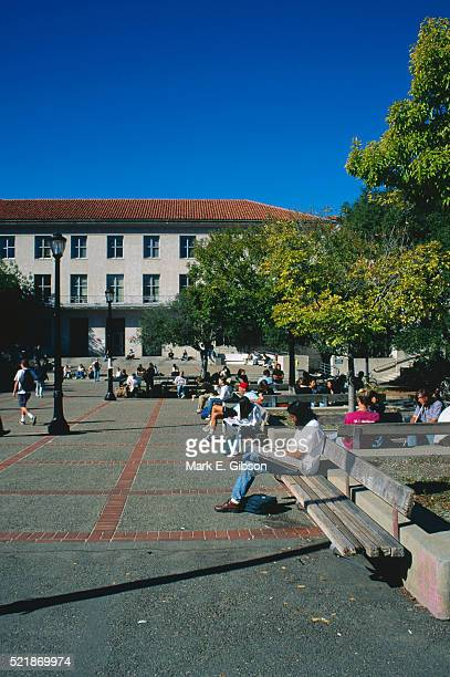 students on university of california campus - uc berkeley stock pictures, royalty-free photos & images