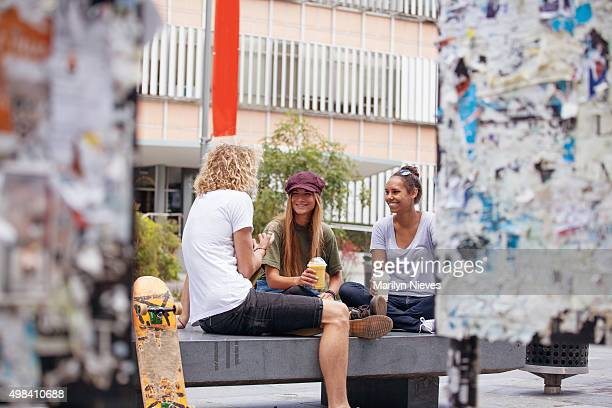 students outside in conversation