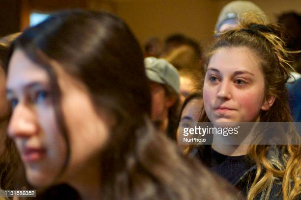 Students pack a room to hear Beto ORourke speak during campaign stop in State College PA on March 19 2019 The candidate from El Paso TX is the first...