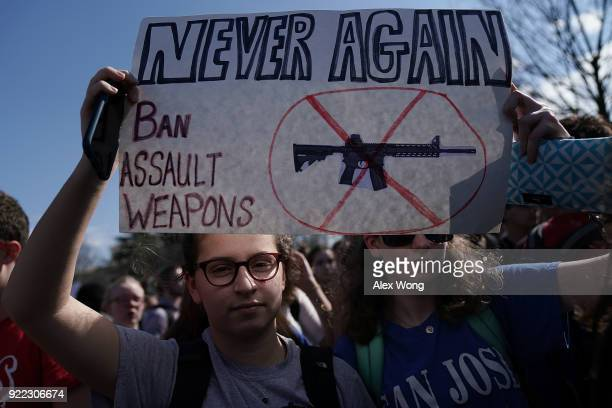 Students participate in a protest against gun violence February 21 2018 on Capitol Hill in Washington DC Hundreds of students from a number of...